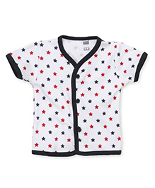 Simply Short Sleeves Star Print Vest - White Black