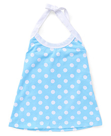 Simply Halter Neck Frock With Polka Dots - Blue