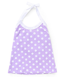 Simply Halter Neck Frock With Polka Dots - Purple