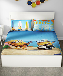 Spaces Minions Printed Cotton Kids Double Bed Sheet With 2 Pillow Cover - Multi Color
