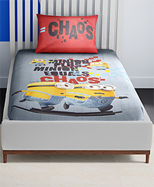 SPACES Minions Printed Cotton Kids Single Bed Sheet With 1 Pillow Cover - Grey