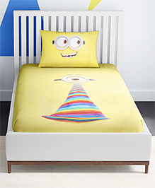 SPACES Minions Printed Cotton Kids Single Bed Sheet With 1 Pillow Cover - Yellow
