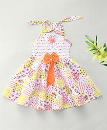 Enfance Shoulder Tie Bow Dress Smoked Pattern - Orange