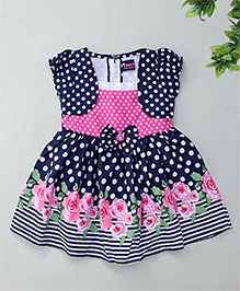 Enfance Balloon Sleeves Dress Polka Dot With Attached Jacket - Blue & Pink