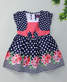 Enfance Balloon Sleeves Dress Polka Dot With Attached Jacket - Blue & Red