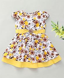 Enfance Cap Sleeves Dress Floral Print - Yellow
