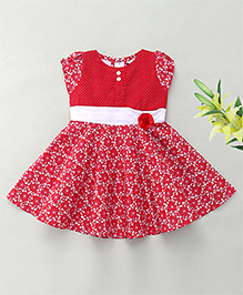 Enfance Cap Sleeves Casual Dress With Rose Motif - Red