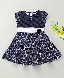 Enfance Cap Sleeves Casual Dress With Rose Motif - Navy Blue
