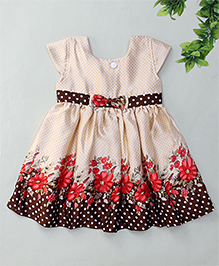 Enfance Short Sleeves Dotted Frock Floral Print - Cream Brown