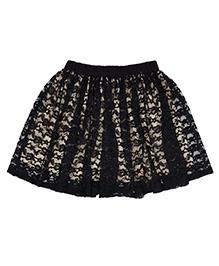 Teeny Tantrums Cut Work Lace Skirt - Black & Beige
