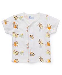 Pink Rabbit Half Sleeves Vest Monkey Print - Off White