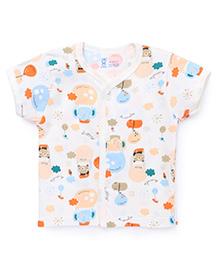 Pink Rabbit Half Sleeves Vest Multi Animal Print - Off White
