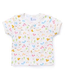 Pink Rabbit Half Sleeves Vest Animal Print - Off White