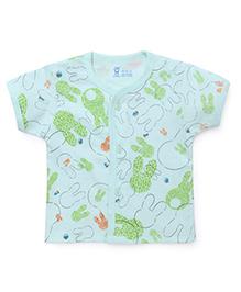 Pink Rabbit Half Sleeves Vest Printed - Green