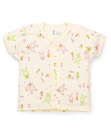 Pink Rabbit Half Sleeves Vest Cartoon Print - Yellow