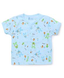 Pink Rabbit Half Sleeves Vest Cartoon Print - Aqua Blue