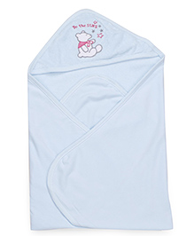 Pink Rabbit Hooded Wrapper With Teddy Patch - Blue