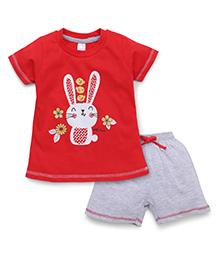 Pink Rabbit Half Sleeves T-Shirt Printed And Shorts - Red Grey
