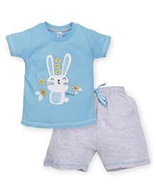 Pink Rabbit Half Sleeves T-Shirt Printed And Shorts - Blue Grey