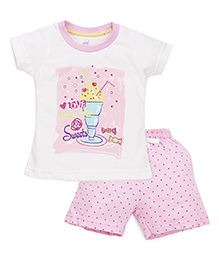 Pink Rabbit Half Sleeves T-Shirt Printed And Shorts - White Pink