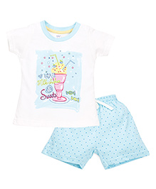Pink Rabbit Half Sleeves T-Shirt Printed And Shorts - White Blue