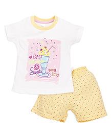 Pink Rabbit Half Sleeves T-Shirt Printed And Shorts - White Yellow