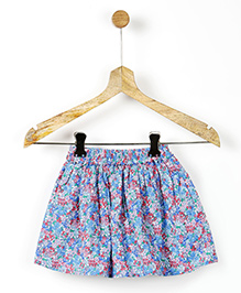 Pluie Mini Floral Printed Gathered Skirt With Pockets - Blue