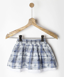 Pluie Floral Printed Lace Hem Skirt With Pockets - Blue & White