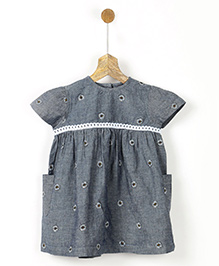 Pluie Sunflower Printed Dress With Lace Embriodery - Grey