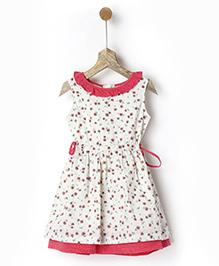 Pluie Minifloral Printed Dress With Contrast Hem & Neckline - Off White & Pink