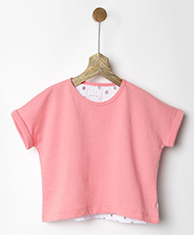 Pluie Back Lace Boxy Tee - Pink & White