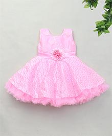 Adores Flower Detailing Flare Dress - Pink