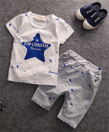 Pre Order - Dells World Star Printed Tee & Pants - Blue Grey & White