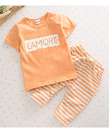 Pre Order - Dells World Lamore Printed Tee With Horizontal Stripe Pants - Orange