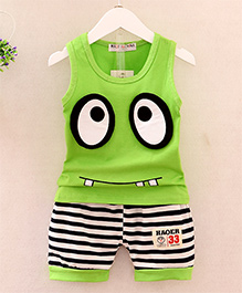 Pre Order - Dells World Eye Applique Tee With Horizontal Stripe Pants - Green & Black