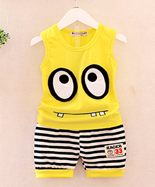 Pre Order - Dells World Eye Applique Tee With Horizontal Stripe Pants - Yellow & Black