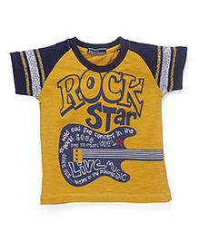 Smarty Half Raglan Sleeves T-Shirt Rockstar Print - Mustard Yellow