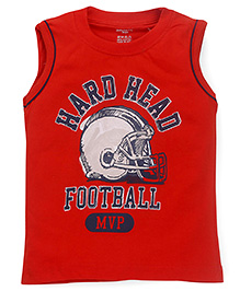 Smarty Sleeveless T-Shirt Football Print - Dark Orange