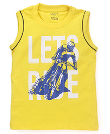 Smarty Sleeveless T-Shirt Lets Ride Print - Golden Yellow