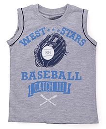 Smarty Sleeveless T-Shirt Baseball Print - Grey