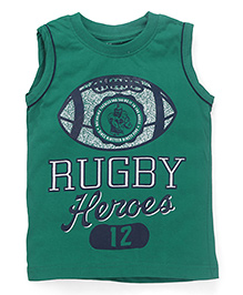 Smarty Sleeveless T-Shirt Rugby Print - Green