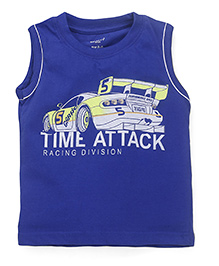 Smarty Sleeveless T-Shirt Time Attack Print - Royal Blue