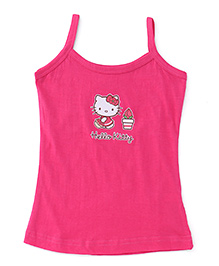 Hello Kitty Plain Solid Color Slip With Print - Dark Pink
