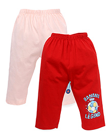 Tango Solid Color Lounge Pants With Print - Peach Red
