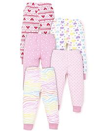 Kidi Wav Multi Prints Pyjamas Pack Of 5 - Pink