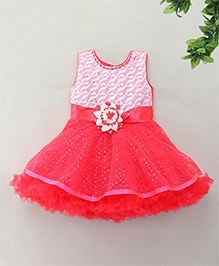 M'Princess Sequin Party Dress With Flower Applique - Red