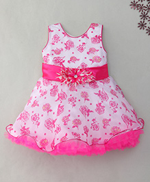 M'Princess Rose Print Dress With Flower Applique - Pink