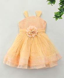 M'Princess Elegant Design Party Dress With Stylish Sleeves - Fawn