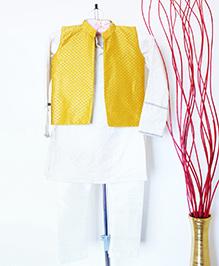 Pre Order - Hickory Dickory Sherwani With Traditional Jacket & Pyjama - Off-White & Yellow