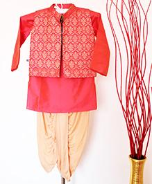 Pre Order - Hickory Dickory Brocade Jacket With Kurta & Dhoti - Peach & Red
